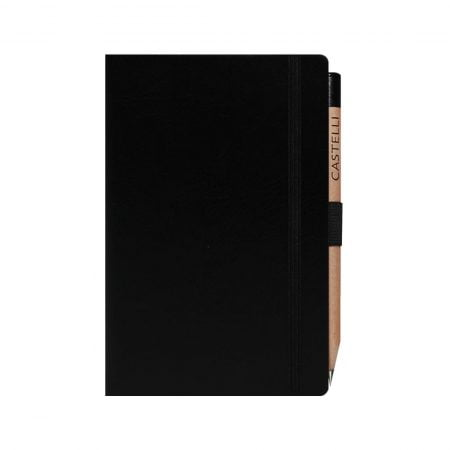 Pocket notebook with a soft feel cover, closure band and ribbon marker.