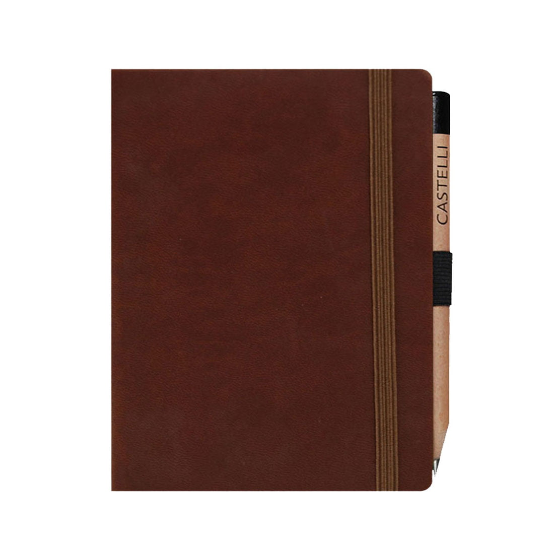 Brown large journal with pen loop and pencil, rounded corners and ribbon maker.