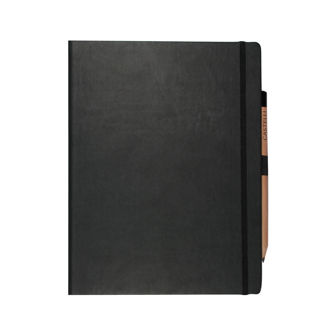 Graphite large note book, complete with internal document wallet, ibbon marker, rounded corners and elasticated closure band.