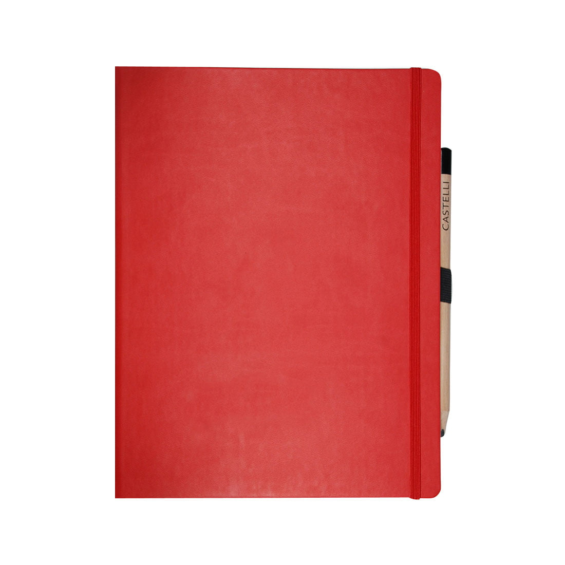 Large note book in red with elasticed closure band and pencil.