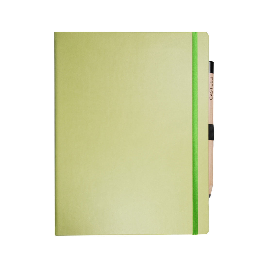 Large note book in bright green ivory ruled pages, rounded corners and pen loop with pencil.