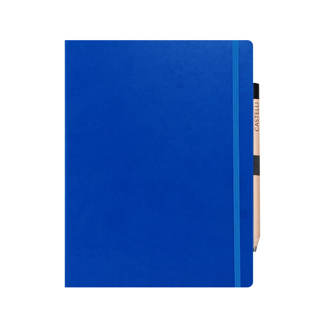 French blue large note book with rounded corners, ribbon marker.
