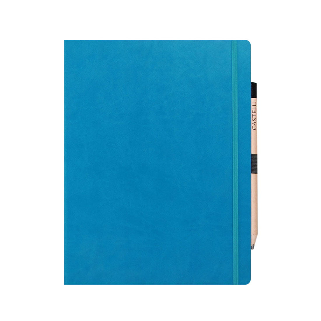 Bright blue journal, co-ordinating elasticated closure band and pencil