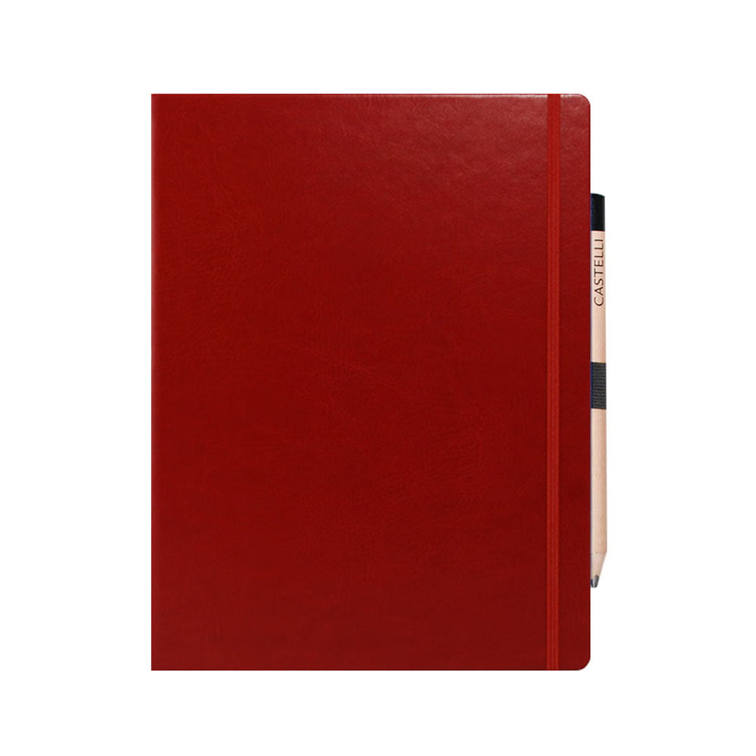 Large notebook with retro style pencil in an elasticated loop. rounded corners, ribbon marker