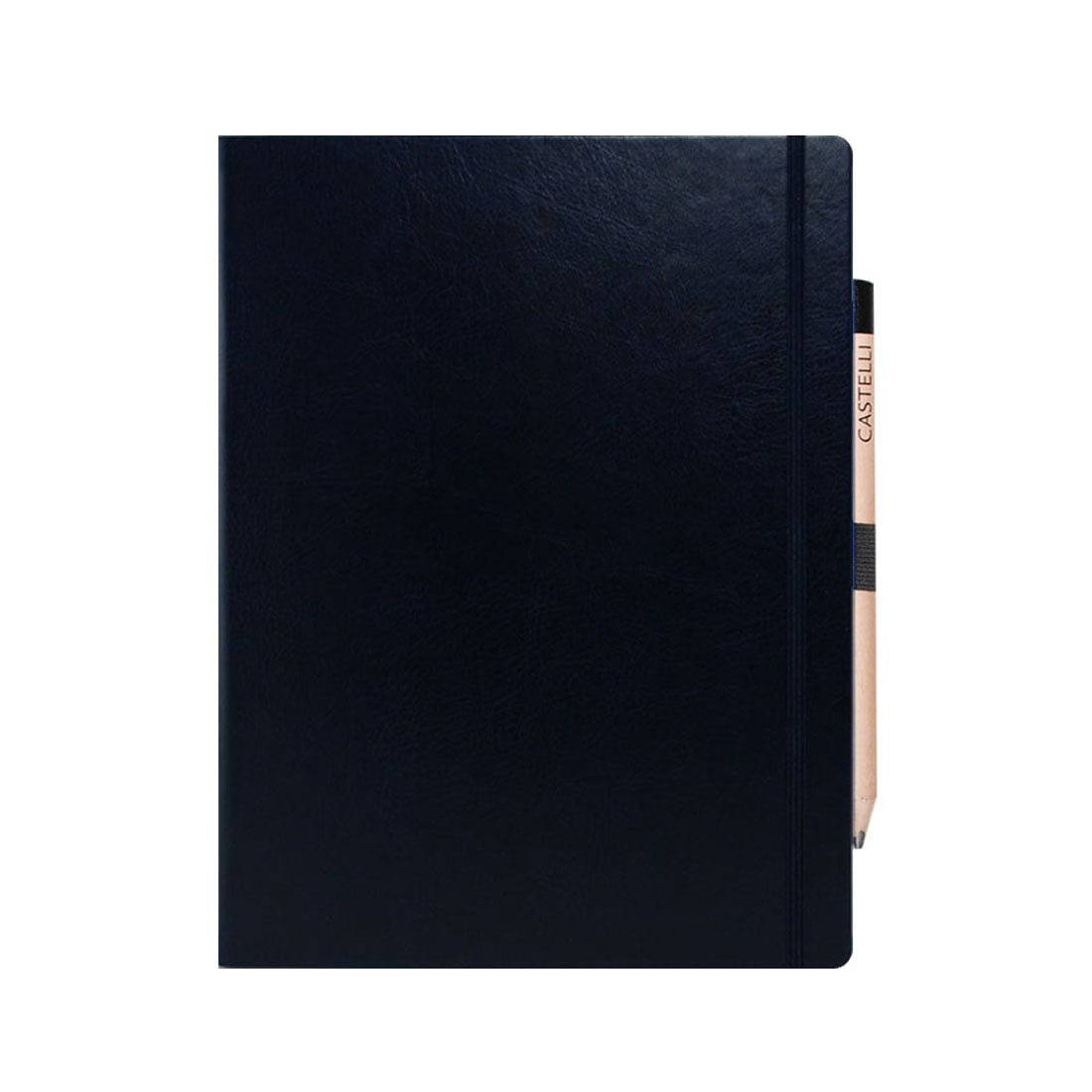 Soft feel large ruled notebook with elasticated closure band, retro style pencil included