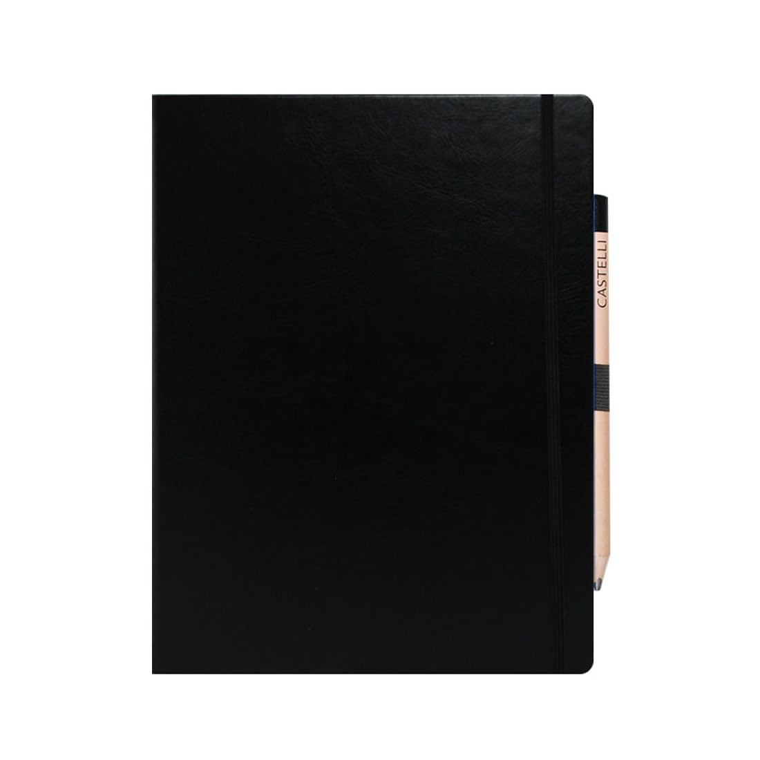 Large notebook with elasticated loop with retro pencil included, rounded corners, internal document pocket.