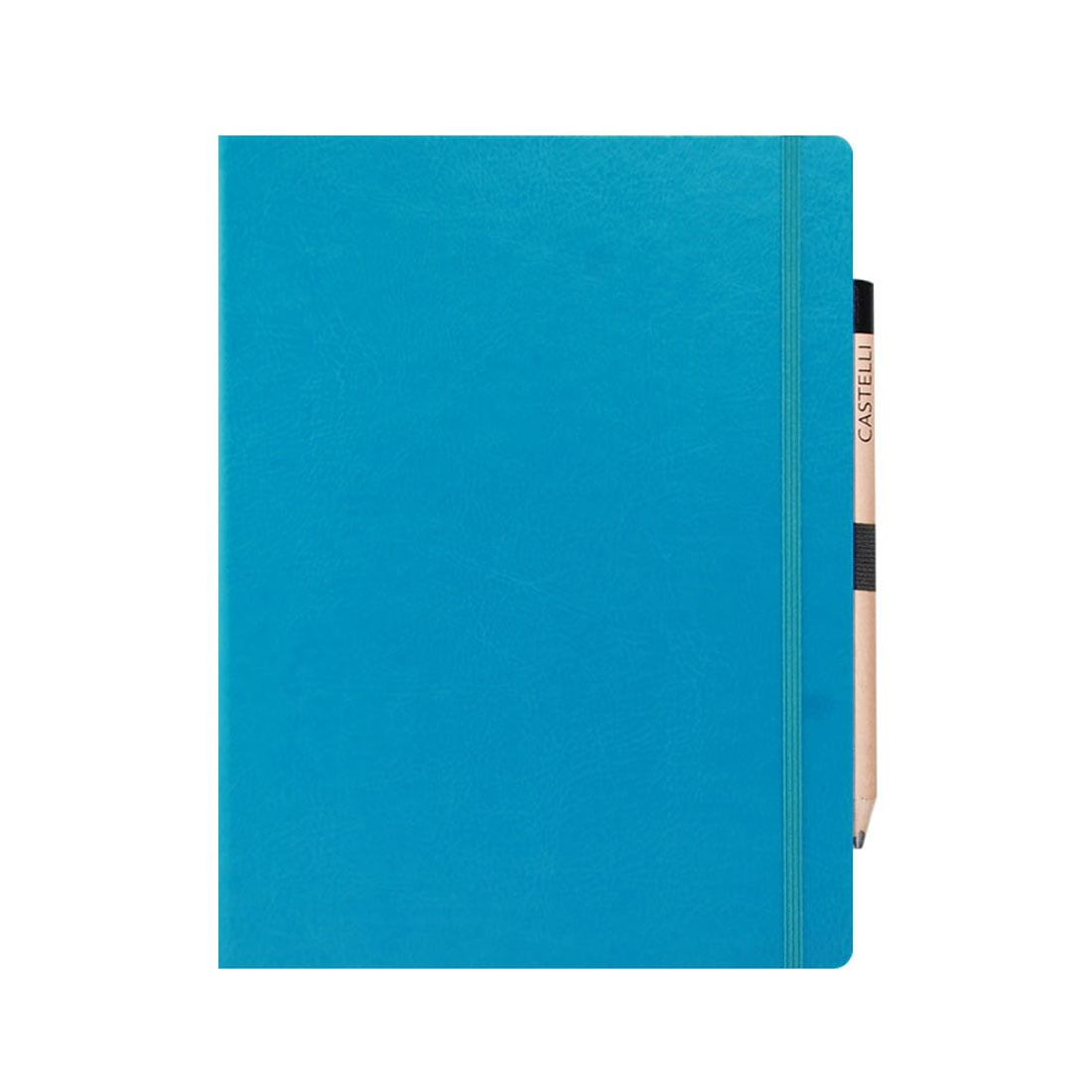 Large ruled notebook with rounded corners, pen loop with pencil included.