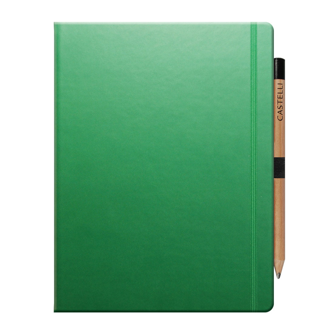 Soft touch padded cover, notebook in green elasticate closure band, internal document pocket, ivory paper, pen loop with pencil included.