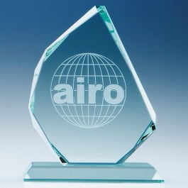 Jade glass faceted award