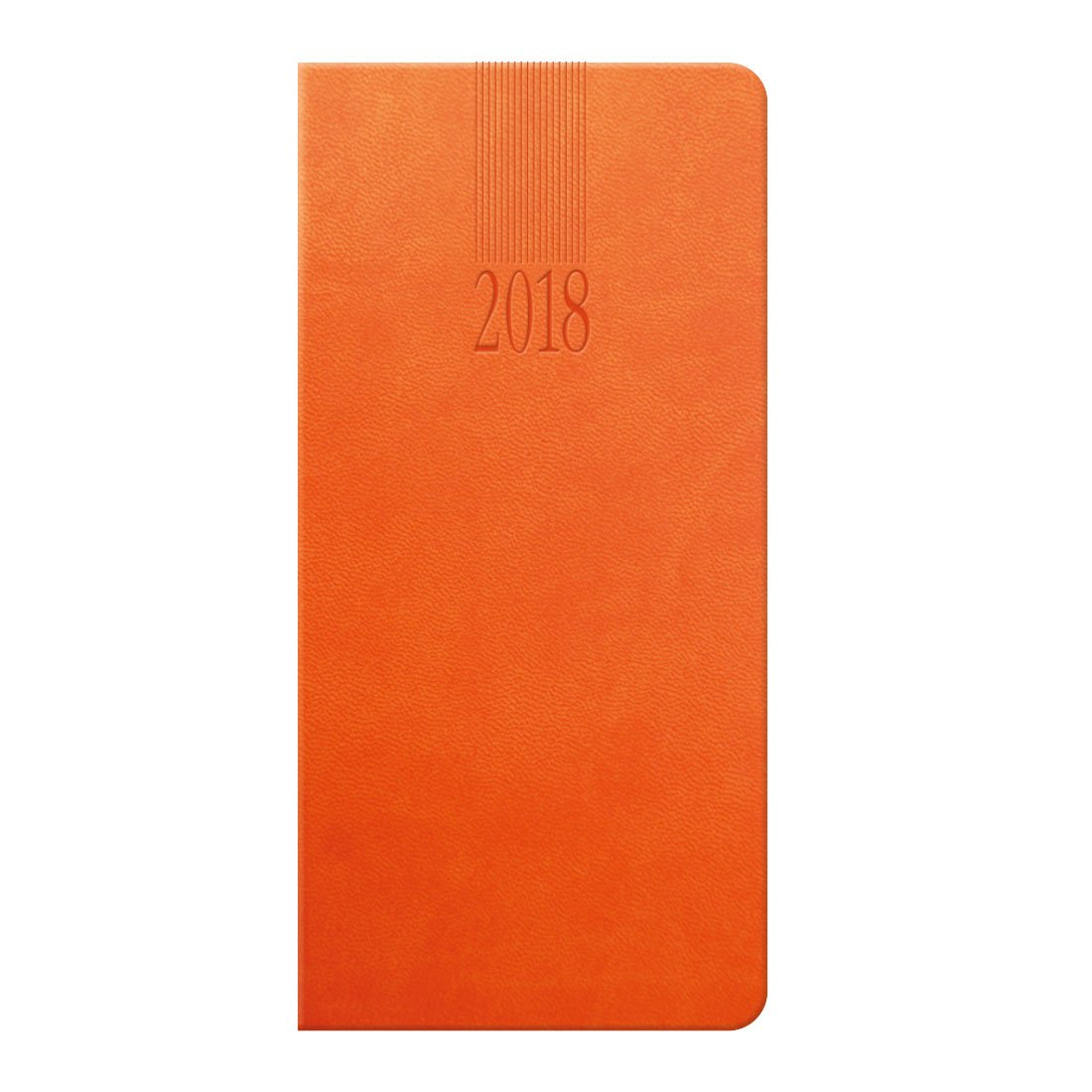 Tuscon pocket diary in orange with a padded cover, embossed with the date anfd your logo. Ribbon marker, UK and World maps.
