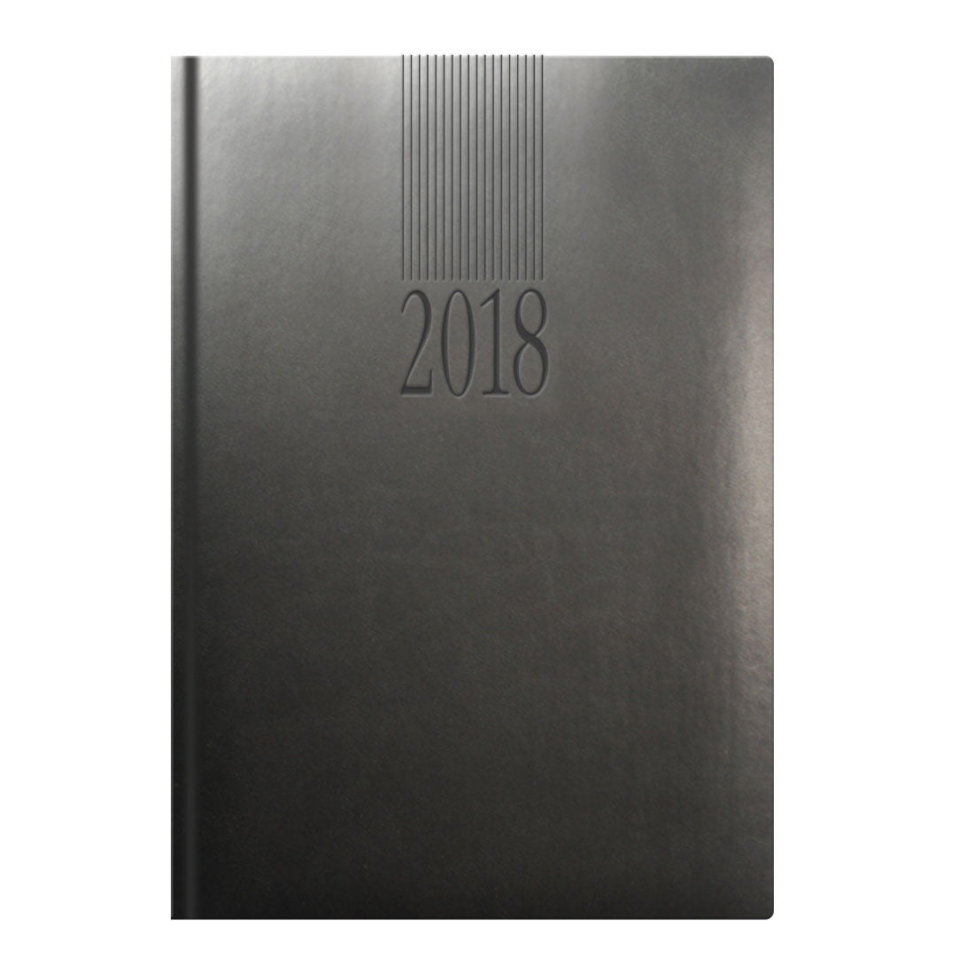 Tuscon A5 desk diary in graphite grey, head and tail bands, blind embossed with your logo.