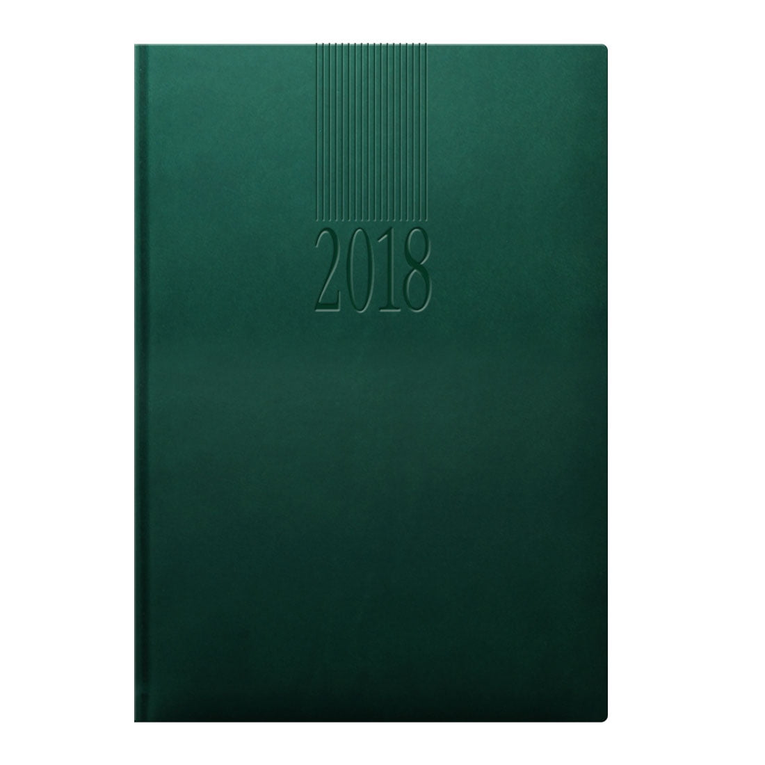 Tuscon A5 diary in green with a padded cover, white pages and blind embossed date.