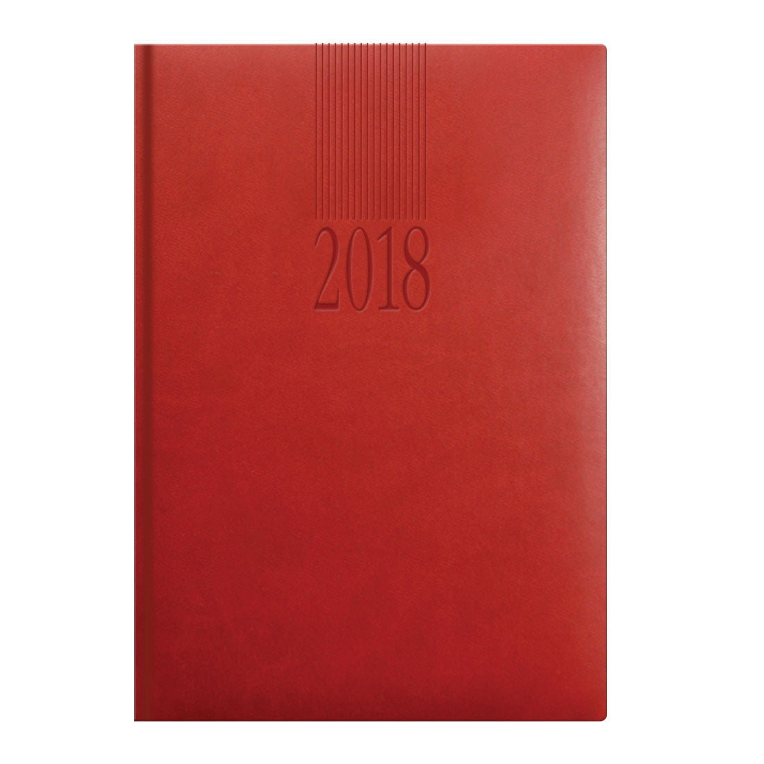 A5 desk diary in red, padded cover, monthly calendar grids in blue and grey.