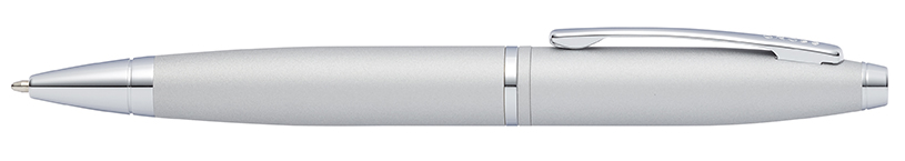 Cross Satin chrome ball pen with black ink.