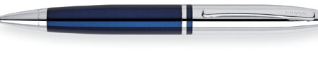 Cross ball pen in chrome/blue engraved with your logo. Life time guarantee