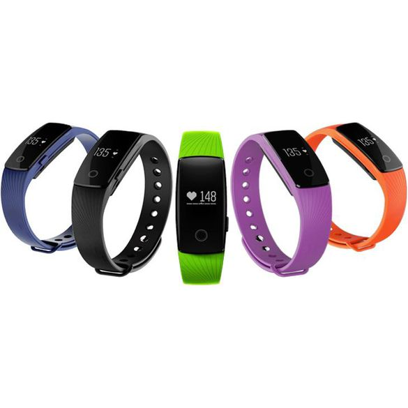 Smart watch in blue, black, green, orange or purple