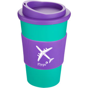 Promotional Americano travel mug in green with purple lid and grip. Prunted with your logo