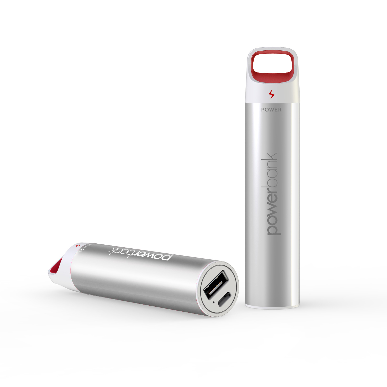 Maverick power bank with anodised aluminium housing, 2200mAH capacity, LD battery level indicator.