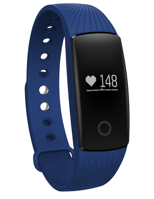 Activity watch in blue with pedometer, calorie and distant count, camera remote shoot, wrist sensor to activate