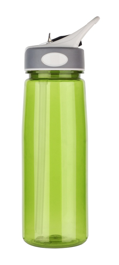light green Tritan water bottle with no spills straw, 800ml