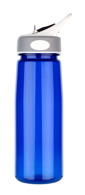 Dark blue sports bottle with no spills straw, 800ml