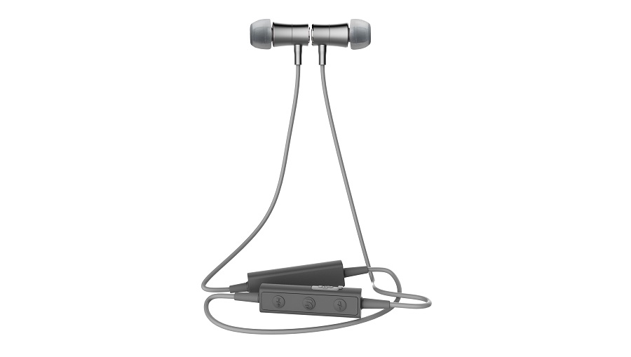 Blue tooth aluminium sports headset in grey with a black zip round case. Noise cancellation, in-ear speaker.