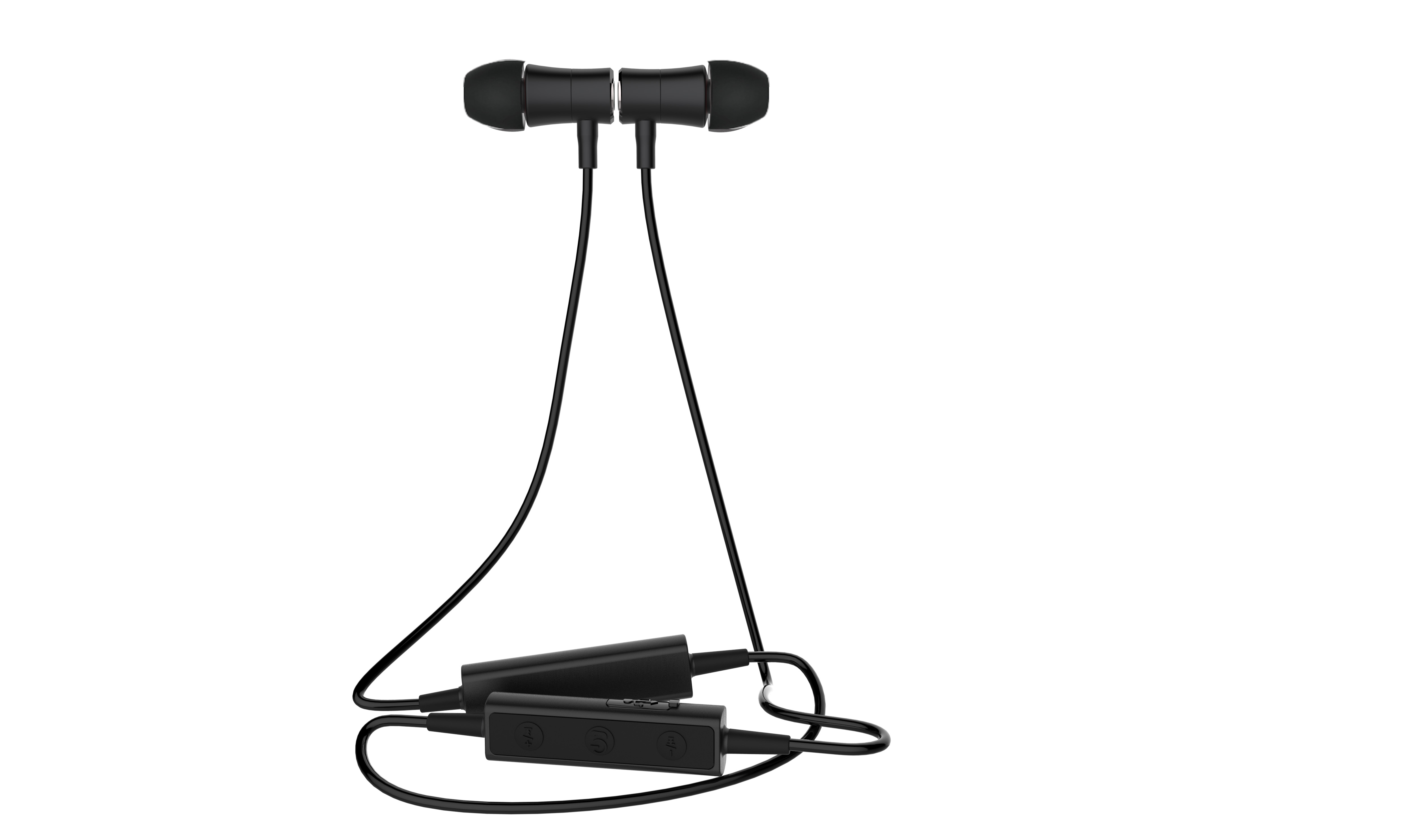 Blue tooth aluminium sports headset in black, in ear speaker noise cancellation with black EVA carry case