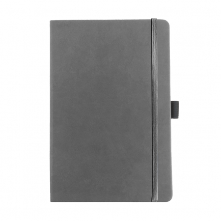 A5 promotional note book in grey, embossed or printed with your logo.
