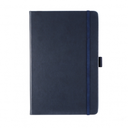 A5 note book with soft-touch cover in navy blue with a pen loop and co-ordination elastic closure
