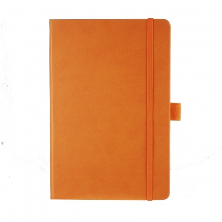 A5 medium size note book with a soft touch cover. Coordinating elastic closure band and pen loop