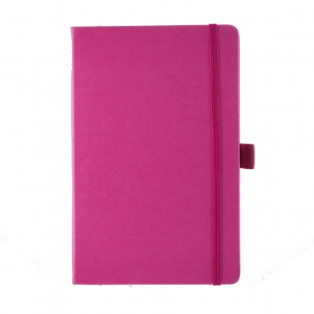A5 medium size note book in pink with a soft touch cover, contrasting pink elastic closure band and pen loop