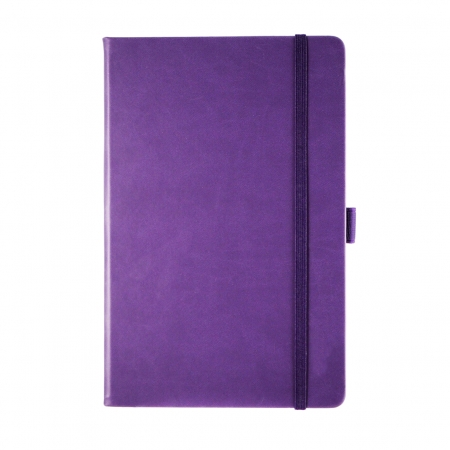 A5 medium size note book in purple with purple elastic closure band and pen loop. Soft touch cover for added luxury