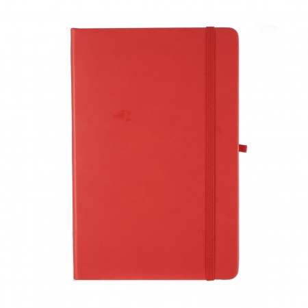 A5 medium size notebook in red with a red elasticated closure and pen loop