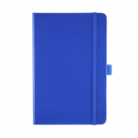A5 medium size corporate notebook in Royal blue with a luxurious soft touch cover. Royal blue elastic closure band and pen loop