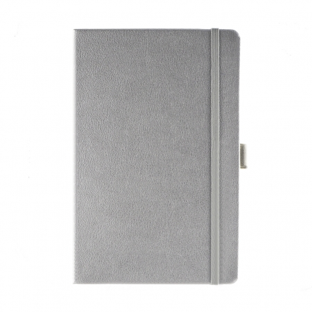 A5 medium size corporate note book with soft touch cover, silver elasticated closure band and pen loop.