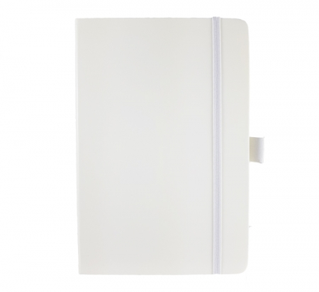 A5 medium size corporate notebook in white with luxurious soft touch cover. Silver elastic closure band and pen loopp