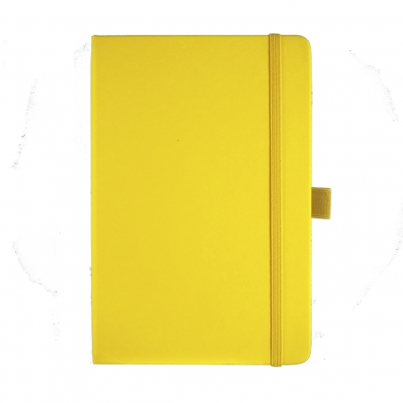 A5 medium size corporate diary in yellow with a luxurious soft touch cover. Yellow elasticated closure band and pen loop